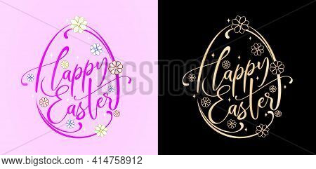 Happy Easter Lettering Fonts With Two Variation Colors Purple And Golds Isolated Backgrounds, Easter