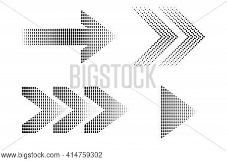 Banner With Dots Arrows. Arrow Icon. Vector Graphic. Overlay Effect. Fade Abstract Pattern. Stock Im