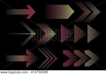 Different Neon Arrows. Abstract Futuristic Design. Design Element. Futuristic Technology. Stock Imag