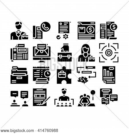 Administrator Business Glyph Set Vector. Analyzing And Researching Chart, People Administrator Occup