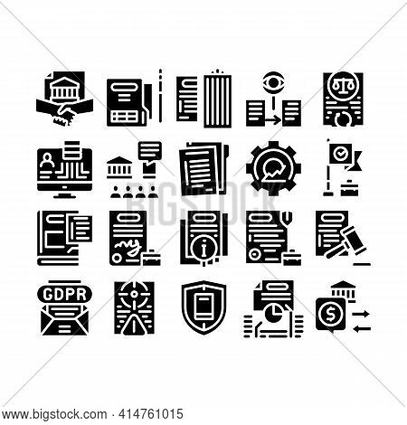 Policies Data Process Glyph Set Vector. Document And Paper, Contract And Strategy, Law And Company,