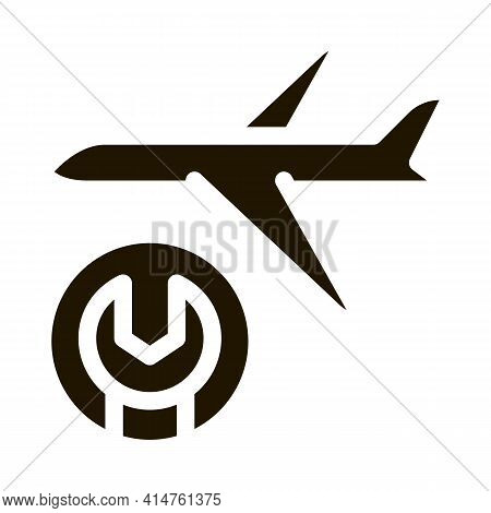 Aircraft Wrench Glyph Icon Vector. Aircraft Wrench Sign. Isolated Symbol Illustration