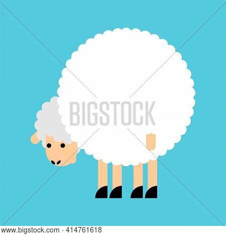 Sheep Ass. Ram Back. Animal Vector Illustration