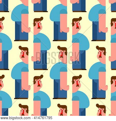 Middle-aged Man Pattern Seamless. Average Person Background