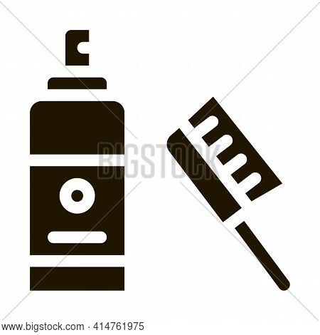 Brush Accessory Glyph Icon Vector. Brush Accessory Sign. Isolated Symbol Illustration