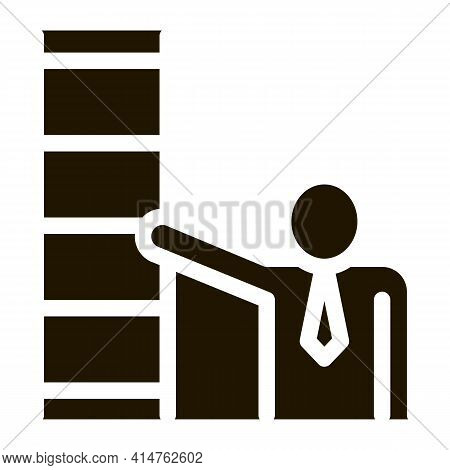Human Stairs Glyph Icon Vector. Human Stairs Sign. Isolated Symbol Illustration