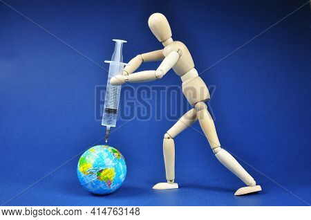 Coronavirus Vaccine Or Vaccination Against Covid-19 Concept. Injection Syringe With Globe Illustrati