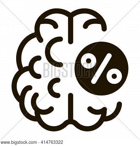 Brain Percentage Glyph Icon Vector. Brain Percentage Sign. Isolated Symbol Illustration
