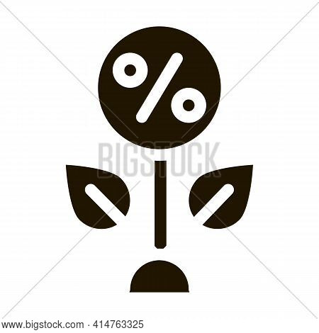 Plant Percentage Glyph Icon Vector. Plant Percentage Sign. Isolated Symbol Illustration