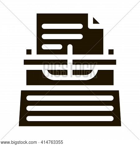 Writer Typewriter Glyph Icon Vector. Writer Typewriter Sign. Isolated Symbol Illustration