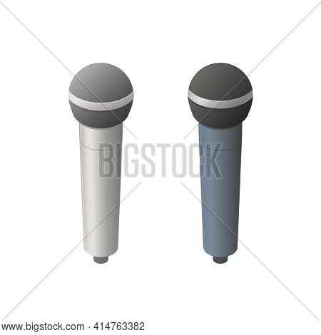 Vocal Microphone Set. Isometric Colored Vector Illustration. Isolated On White Background.