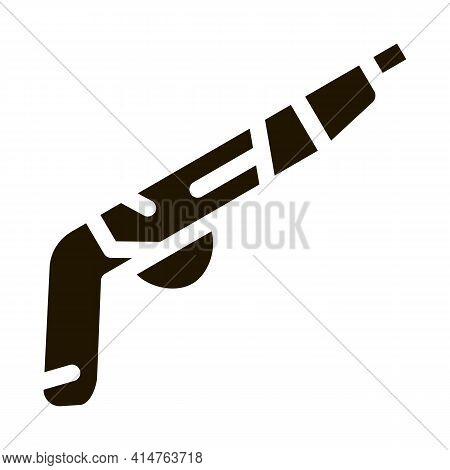 Gun Pistol Glyph Icon Vector. Gun Pistol Sign. Isolated Symbol Illustration