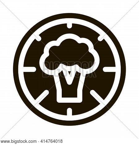 Pizza Broccoli Glyph Icon Vector. Pizza Broccoli Sign. Isolated Symbol Illustration