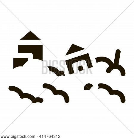 Town Hurricane Glyph Icon Vector. Town Hurricane Sign. Isolated Symbol Illustration