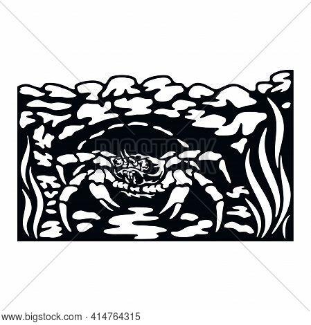 Crab, Wildlife Stencils - Silhouettes, Wildlife Clipart, Iron On, Vector, Vinyl Design.