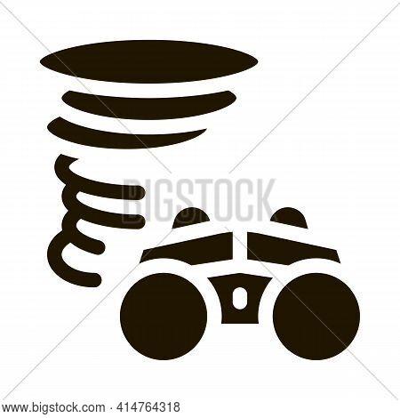 Binocular Tornado Glyph Icon Vector. Binocular Tornado Sign. Isolated Symbol Illustration