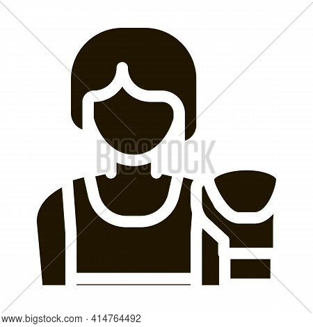 Boxer Woman Glyph Icon Vector. Boxer Woman Sign. Isolated Symbol Illustration
