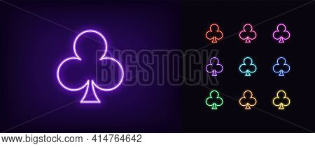 Neon Club Suit Icon. Glowing Neon Clubs Sign, Outline Card Suit Symbol And Silhouette In Vivid Color