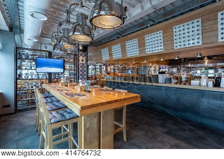 Novosibirsk, Russia - November 04, 2018: Restaurant Hall With A Dining Table For A Large Company. Be