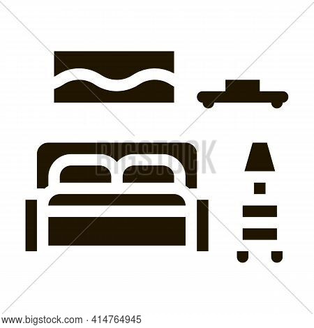 Bedroom Glyph Icon Vector. Bedroom Sign. Isolated Symbol Illustration