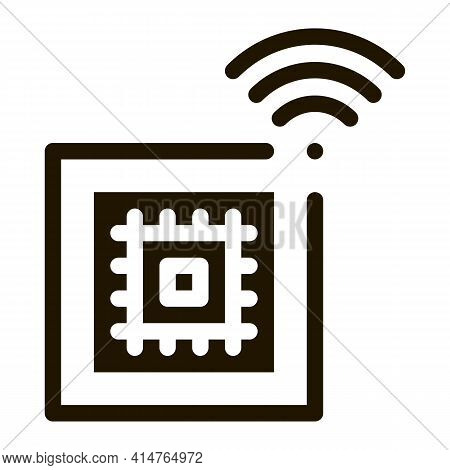Microchip Glyph Icon Vector. Microchip Sign. Isolated Symbol Illustration