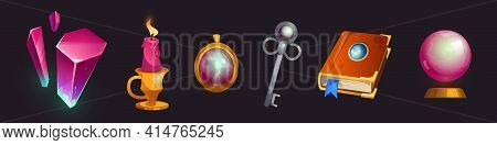 Cartoon Magic Items Crystal, Globe, Burning Candle And Ancient Silver Key, Spell Book And Gold Penda