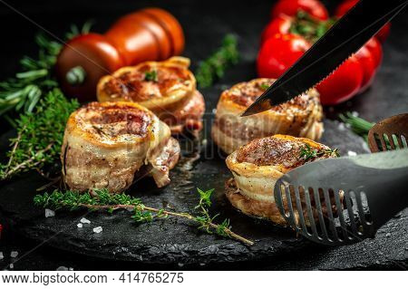 Healthy Lean Grilled Medium-rare Beef Steak. Beef Tenderloin Steak Covered Bacon. Food Recipe Backgr