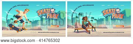 Skate Park Cartoon Landing Page With Teenager At Rollerdrome Perform Skateboard Jumping Stunts On Pi
