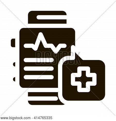 Heartbeat Watch Glyph Icon Vector. Heartbeat Watch Sign. Isolated Symbol Illustration