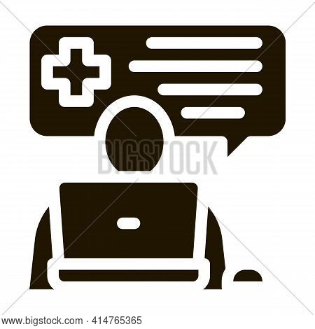 Online Diagnosis Glyph Icon Vector. Online Diagnosis Sign. Isolated Symbol Illustration
