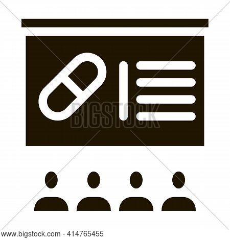 Pills Blackboard Glyph Icon Vector. Pills Blackboard Sign. Isolated Symbol Illustration