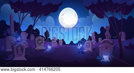 Pet Cemetery At Night, Animal Graveyard With Tombstones, Grave Tombs With Cats, Dogs And Birds Souls