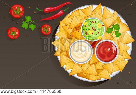 Dish With Nacho Chips And Sauces In Bowls, Mexican Food With Dressings. Vector Cartoon Background Wi