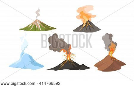 Erupting Volcano With Fire And Smoke Set. Awakening And Erupting Volcano Blowing Up Lava, Magma And