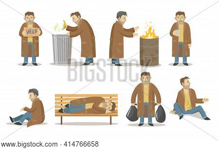 Homeless Man In Various Poses Collection. Poor Adult Homeless Male Character Starving, Drinking And