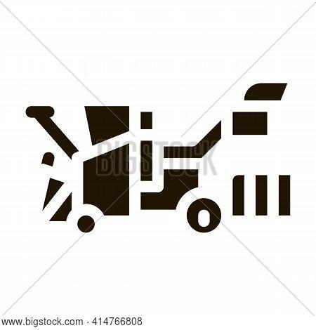 Harvester Machine Glyph Icon Vector. Harvester Machine Sign. Isolated Symbol Illustration