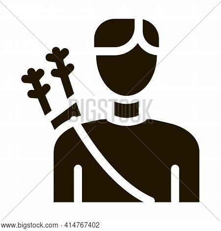 Archer Sport Man Silhouette Icon Vector. Boy Archer Gamer With Arrows Behind Back Pictogram. Athleti