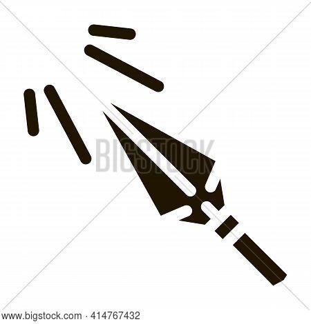Sharp Arrowhead Archery Icon Vector. Metallic Arrowhead, Arrow Steel Detail With Sun Rays Pictogram.