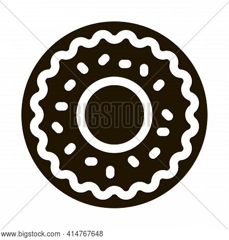 Donut Delicious Baked Snack Icon Vector. Donut Glazed Chocolate Or Cream And Candy Sprinkle Pictogra