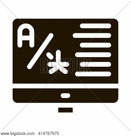 Computer Translation Program Icon Vector. Online Learning Or Dictionary On Computer Screen Pictogram