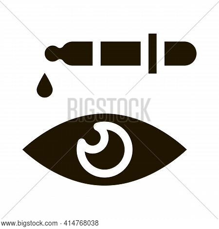 Human Eye Laser Correction Icon Vector. Medical Optometry Equipment For Correction Eyeball Pictogram