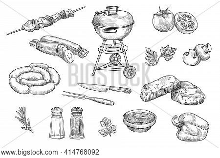 Bbq Elements Isolated Hand Drawn Vector Illustration Set. Engraved Grilled Vegetables, Fried Beef Me