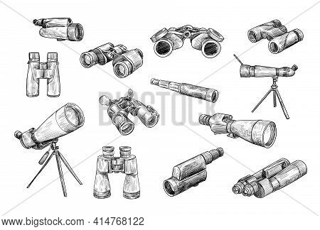 Antique And Military Binoculars And Telescopes Drawn Set. Graphic Isolated Icons Of Spyglass, Optica