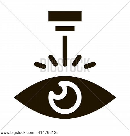 Eye Laser Correction Device Icon Vector. Medicine Clinic Optometry Ray For Correct Eye Vision Pictog