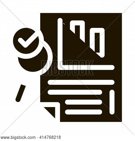 File Infographic Research Icon Vector. Analysis And Approved By Magnifier Glass Infographic Document