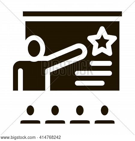 Work Development Training Icon Vector. Trainer Pointing On Star On Blackboard, Training For Worker P