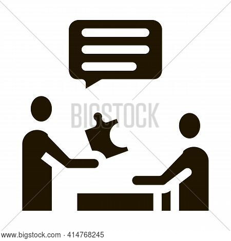Human Giving Puzzle Piece Icon Vector. Businessman Explains What Lacking In Work Of Employee Pictogr