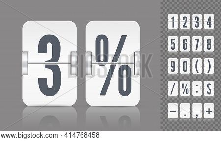 Vector Numeric Template. Set Of Flip Scoreboard With Reflections Including Digits And Symbols For Wh