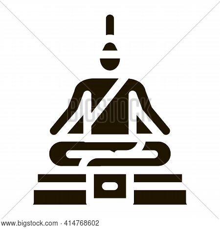 Buddha Thai Religion Statue Icon Vector. Buddha Religious Sculpture, Spirituality Monument Pictogram