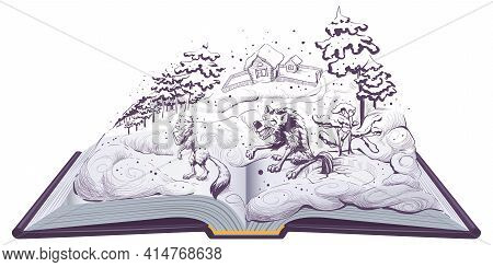 Fox And Wolf Russian Folk Tale. The Wolf Catches Fish With Its Tail Down In Ice Hole Open Book Illus